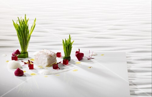 Cod cooked 'sous vide' with beetroot and wheatgrass