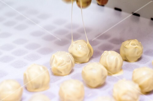 Home-made white chocolate truffles