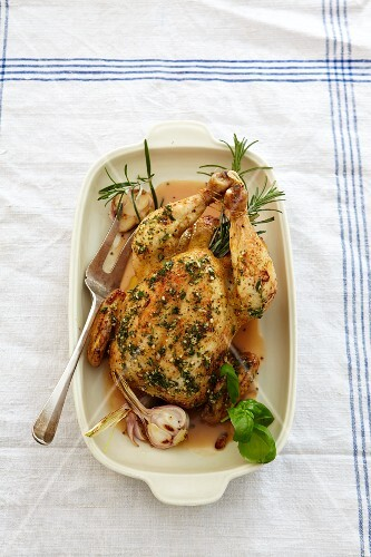 Roast chicken with garlic and rosemary