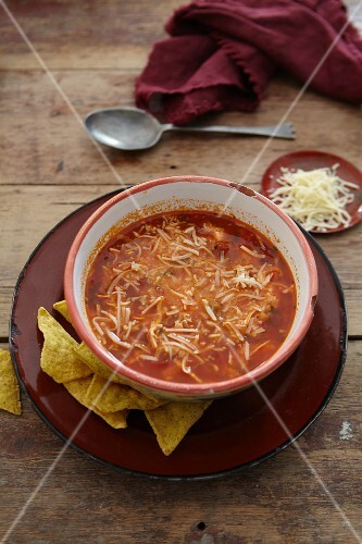 Chicken soup with grated cheese and tortilla chips (Mexico)