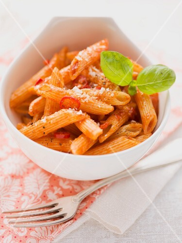 Penne arrabiata with basil