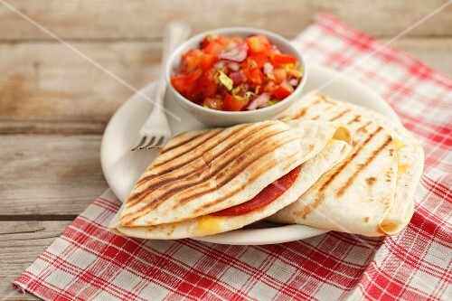 Quesadillas with salami and tomato salsa