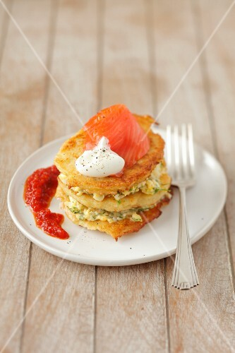 Potato pancakes with egg and smoked salmon