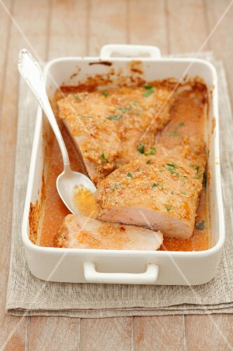 Baked turkey breast with sesame and carrot topping