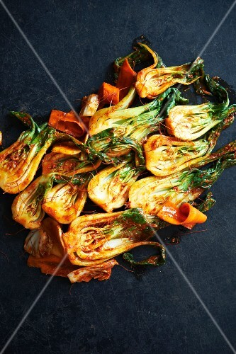 Kimchi Made with Fermented Bok Choy, Carrots and Napa Cabbage
