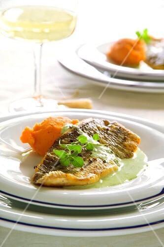 Sea bass with sweet potato purée