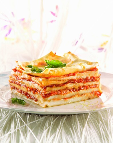 Lasagne with tomatoes and béchamel sauce