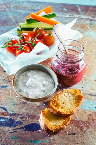 Beetroot pesto and yoghurt dip
