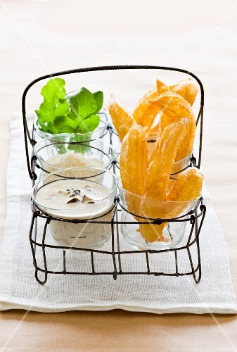 Savoury churros with dip and cheese