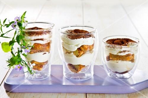 Tiramisu served in three glasses