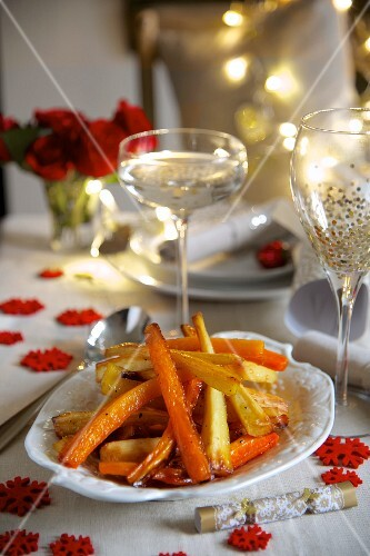 Roasted carrots and parsnips with a honey glaze for Christmas dinner
