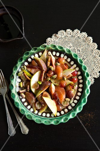 Mediterranean fruit salad with pistachios and dates