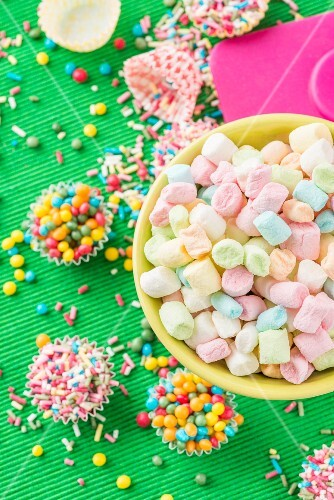 Colourful mini marshmallows, sugar balls and sugar sprinkles