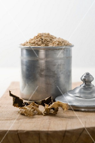 Celery salt in a metal pot