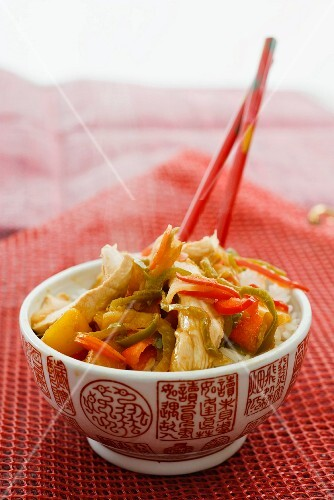 Chicken with peppers and rice (Asia)