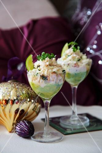 Avocado and crab salad for Christmas dinner