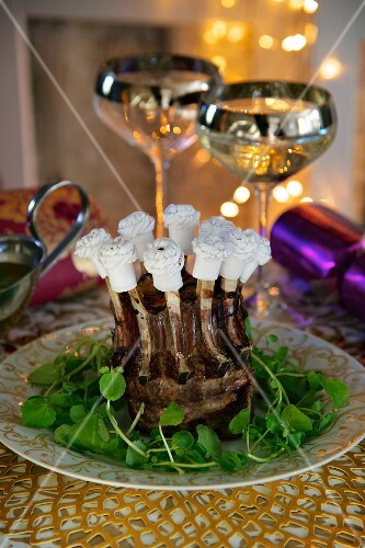 Crown roast of lamb on a bed of cress