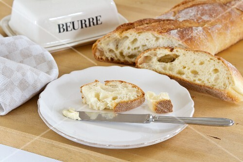 Fresh white bread with butter
