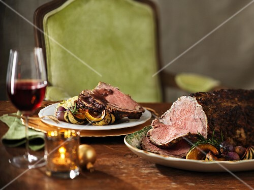 Festive roast beef with roasted vegetables