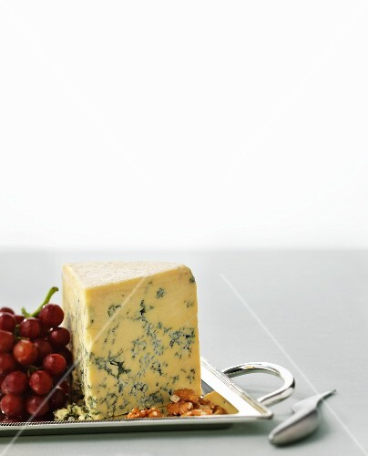 Stilton with grapes and walnuts