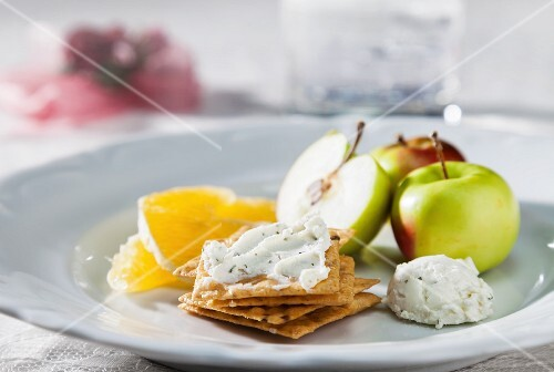 Gluten Free Crackers with Herbed Goat Cheese, Lady Apples and Orange Slices