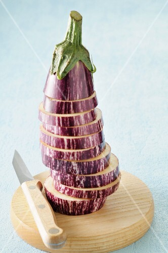 Aubergine, sliced and stacked
