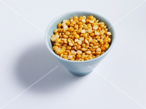 Yellow lentils in a bowl