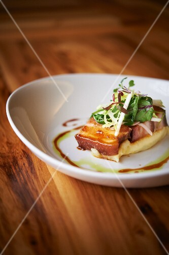 Braised and Smoked Pork Belly with Apple Cider Slaw and Grits
