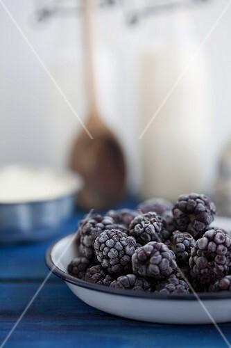 Frozen blackberries on an enamel plate