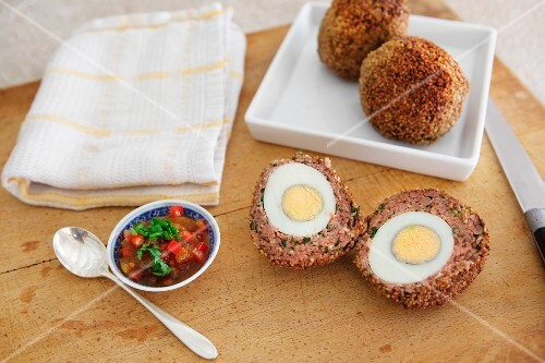 Scotch eggs with pepper relish