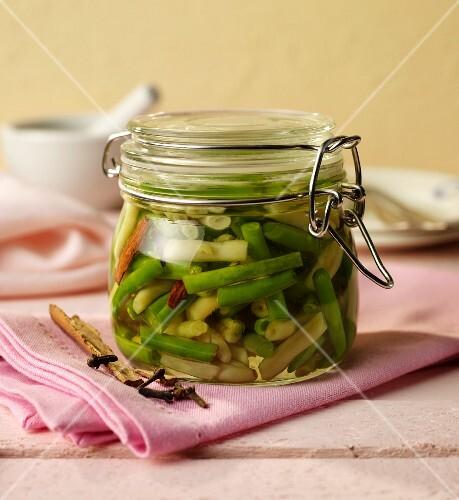 Beans pickled in sweet vinegar