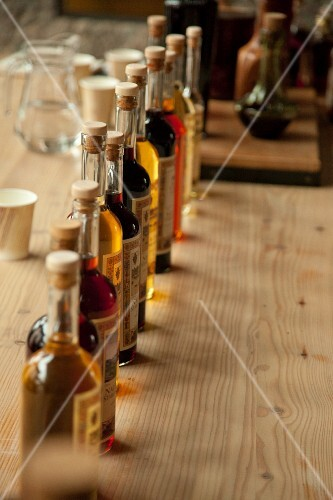 Assorted Polish spirits on a wooden table