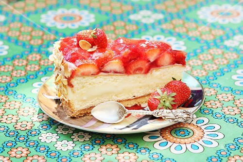 A slice of strawberry cheesecake