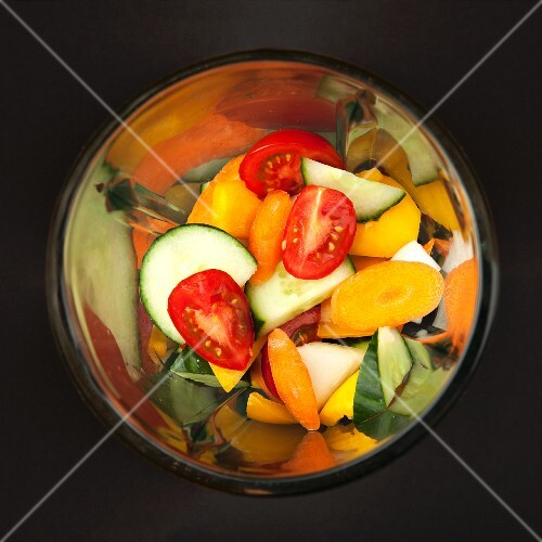Mixed vegetables (for gazpacho) in a blender