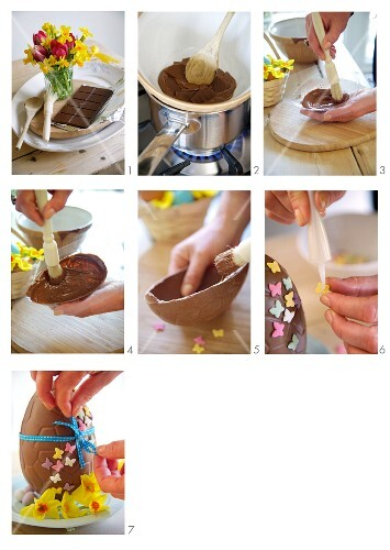 A chocolate Easter egg being made