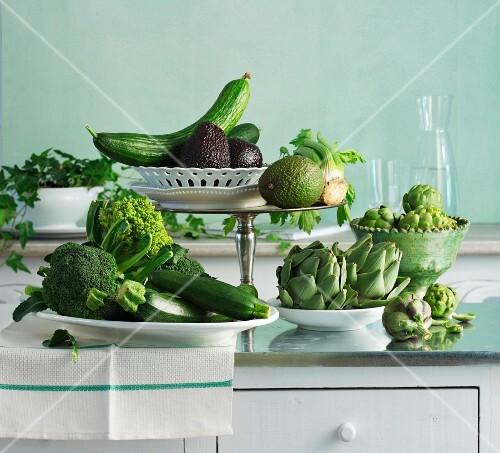 Assorted varieties of green vegetables