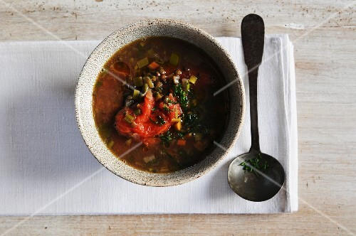 Lentil soup with tomatoes (view from above)