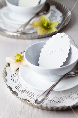 Tart tins used as underplates decorated with doilies