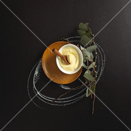 A bowl of aioli (garlic mayonnaise)