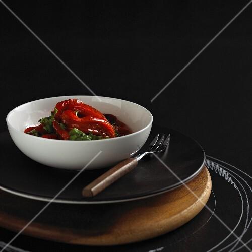 Grilled root vegetables on a plate, Sweden.
