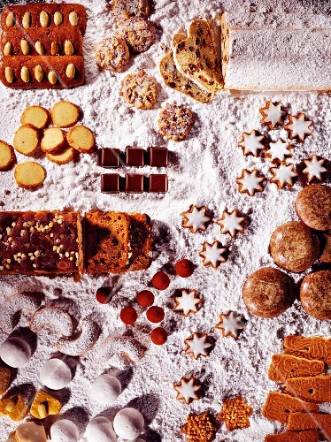 Assorted Christmas biscuits and stollen