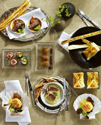 Assorted amuse-bouches (view from above)