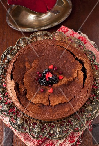 French Chocolate Cake with Blackberries and Hearts