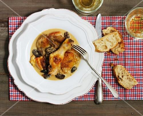 Coq au vin with morel sauce (France)