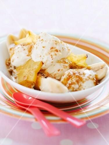 Banana Split with Start Fruit