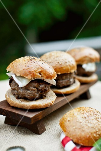 Grilled buffalo burgers in wholemeal buns