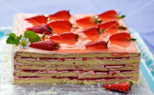 A square strawberry layer cake