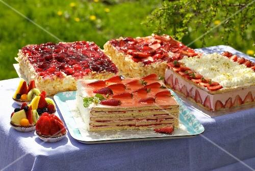 Summer cake buffet, outdoors