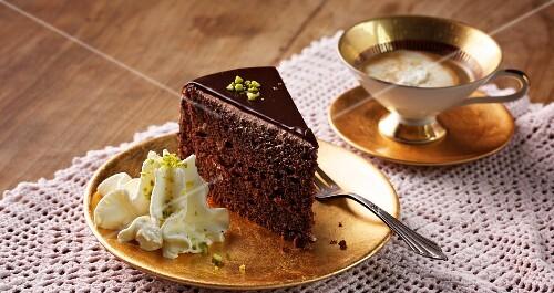 Celebratory chocolate torte with pistachio cream