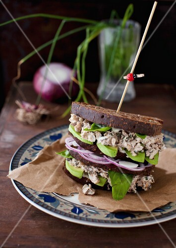 Basil Chicken Salad with Mushrooms, Walnuts and Avocado on Whole Grain Bread